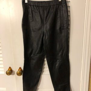 Leather pants elastic waist with pockets